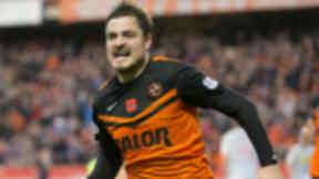 Return: Paul Patron scored Dundee United's opener in his first game since a club led investigation into his conduct.