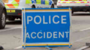 Crash: A car collided with a stationary van.