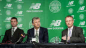 Richard Wright, General Manager of New Balance Football, outlines plans for their global kit partnership with Celtic as the club's manager Ronny Deila (left) and Chief Executive Peter Lawwell (centre) look on