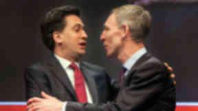 Labour leader Ed Miliband hugs Scottish Labour party leader Jim Murphy at the Scottish Labour conference March 7 2015 quality news image