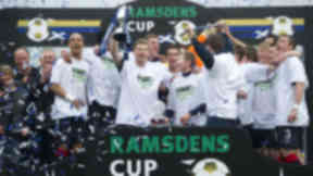 The Falkirk squad lift the Ramsdens Cup