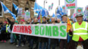 Anti trident nuclear protest George Square Glasgow April 4, 2015 crowd