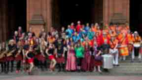 Samba YBamba team up with Oi Musica for huge massed band at West End Festival, credit Zul Bhatia
