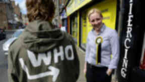 Mhairi Black SNP candidate for Paisley and Renfrewshire South in the 2015 general election of 2015 on the campaign trail in Paisley.