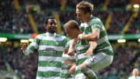 Celtic's Leigh Griffiths celebrates a goal against Dundee, May 1 2015.