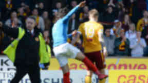 Rangers' Bilel Mohsni clashes with Lee Erwin from Motherwell at game. Quality news image uploaded Jnue 1 32015