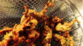 Pakora: The thief returned to the scene of the crime for food.