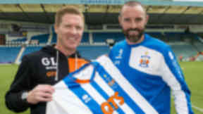 Kilmarnock manager Gary Locke (left) joins newest signing Kris Boyd as he returns to the club for a third spell