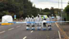 Crash: Forensic experts comb the scene at Comiston Road.