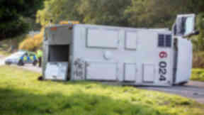 Crash: Prisoner transport van lying on A952.