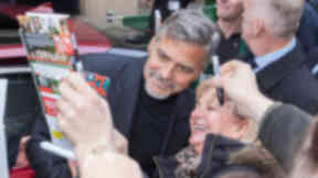 George Clooney at Social Bite cafe in Rose Street Edinburgh quality news image uploaded November 12 2015