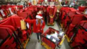 Rush: Royal Mail staff work 24 in run up to Christmas.