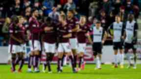 Hearts celebrate taking the lead against Dundee United.