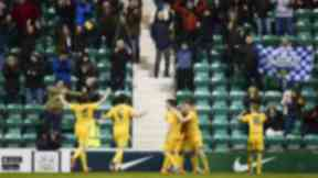 Morton's Ross Forbes (centre) celebrates after making it 3-0.