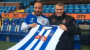 Julien Faubert and Lee Clark pose at Rugby Park.
