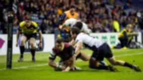 Edinburgh's Damien Hoyland scores his second try