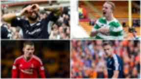 Clockwise from top left: Kane Hemmings (Dundee), Leigh Griffiths (Celtic), Greg Stewart (Dundee), Jonny Hayes (Aberdeen)