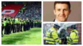 Pitch invasion: Police on pitch at Hampden after cup final trouble.