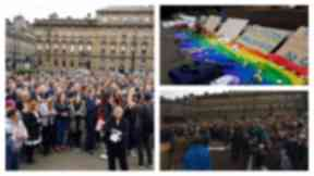 George Square: Hundreds attend vigil for shooting victims.