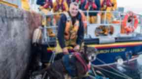 Rescued: Anthony Train and Sniffy the seafaring dog.