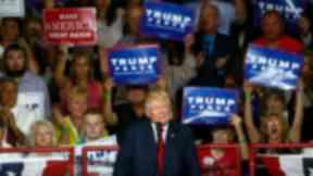Donald Trump addresses supporters in Pennsylvania.