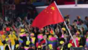 China flagbearer Sheng Lei during the opening ceremony of the Rio Olympics.