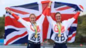 Winners: Great Britain's Helen Glover (left) and Heather Stanning (right) celebrate winning gold in the Women's Pair Final.