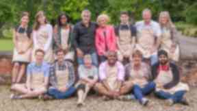 The contestants pose with judges Mary Berry and Paul Hollywood.