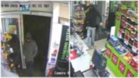 CCTV: Police are hunting two men after robbery at store in Alexandria.