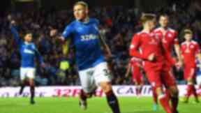 Rangers' Martyn Waghorn (33) celebrates after he scores his side's fourth goal.