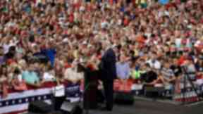 Donald Trump speaks at a rally in the US on Tuesday.