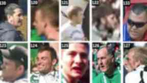 CCTV: Police are hunting for the men over trouble at Hibs v Rangers match.