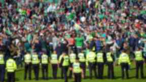Hibs fans invade Hampden pitch after Scottish Cup Final win over Rangers in 2016