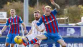 Inverness CT's Carl Tremarco battles for the ball against Ross County's Craig Curran.
