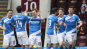 Celebrations: St Johnstone enjoy taking all three points at Fir Park.