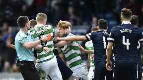 Controversy: Brown was sent off for Celtic.