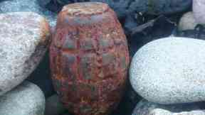 Bomb disposal: The 'rusty' grenade was detonated.