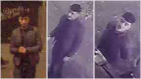 Collage of CCTV images of a man police seeking over assault in Royal Exchange Square, Glasgow.