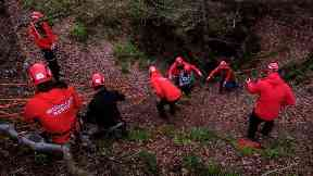 Rescue: Woman helped to safety by Lomond MRT.