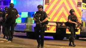 Armed police in Manchester after terror attack.