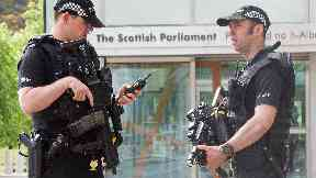 USE THIS ONE - Armed police officers, Scottish Parliament, May 24