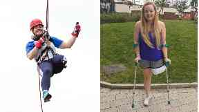 Hope Gordon abseiling from Glasgow's Titan Crane nine months after her amputation
