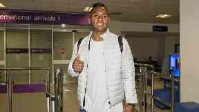Alfredo Morelos pictured in Edinburgh Airport.