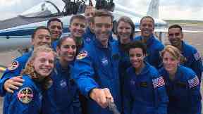 The successful dozen enjoyed a group selfie at the Johnson Space Center in Houston