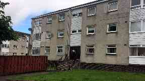 Lewiston Drive, Summerston, Glasgow, where four-year-old boy fell from flat window
