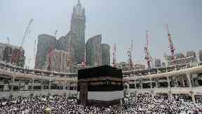 Muslim pilgrims inside the Grand Mosque in Mecca.