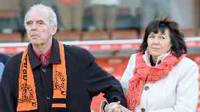Frank Kopel and wife Amanda at Tannadice in 2014