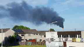 Black smoke from gas plant in Fife, used with permission. Re-cut, straightened and reuploaded