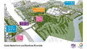An aerial view of the infrastructure being developed through the Clyde Waterfront and Renfrew Riverside project.
