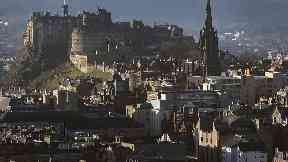 Edinburgh Castle looking over the city of Edinburgh Scotland